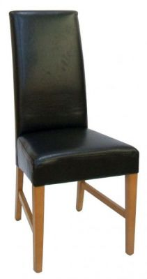 Dark-Brown-real-leather-upholstered-high-back-dining-chair-compressor