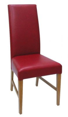 Red-finish-leather-high-back-dining-chair-with-a-solid-wood-construction-compressor