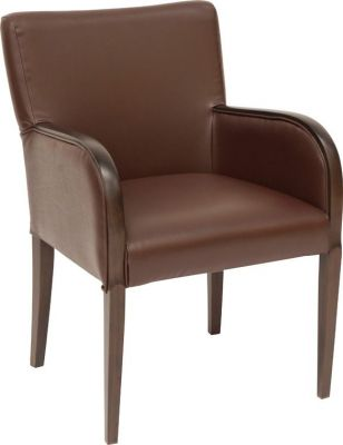 Full-faux-leather-upholstered-armchair-with-dark-walnut-finish-legs