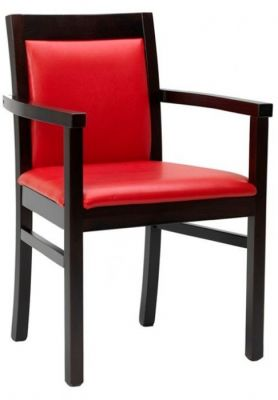 Classic-style-faux-leather-dining-chair-with-upholstered-seat-and-back