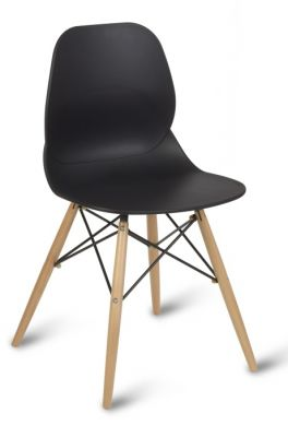 Black Designer Plastic Chair With Beech Wood Legs