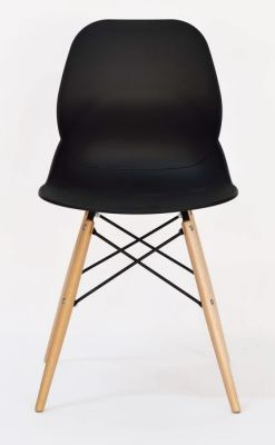 Black Designer Seating With Poly Chair Shell And Beech Legs