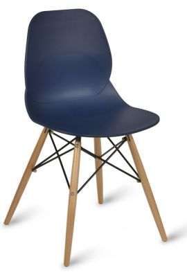 Eames DSW Naive Blue Polypropelene Chair With Designer Beech Legs