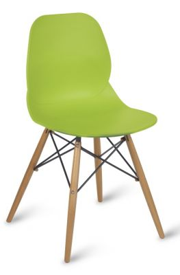 Lime Green Plastic Chair With Beech Legs