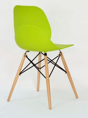 Vibrant Lime Green Plastic Chair With Wood Beech Legs