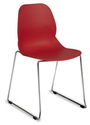 Red Poly Plastic Chair With Skid Chrome Base