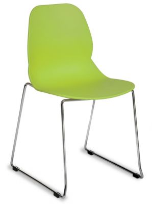 Vibrant Lime Green Multipurpose Polypropelene Chair With A Skid Chrome Base