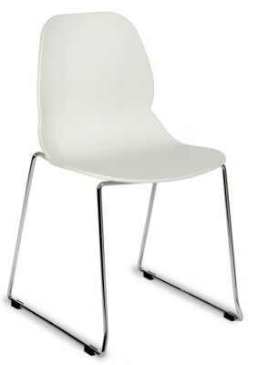 White Plastic Chair With Chrome Skid Base