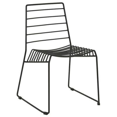 Designer Outdoor And Indoor Steel Wire Frame Chair Black