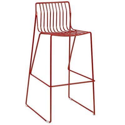 Red Designer Outdoor High Stool With Wire Steel Frame