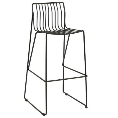 Designer Outdoor High Stool With A Black Steel Wire Frame