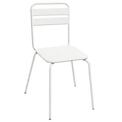 White All Metal Stylish Sidechair