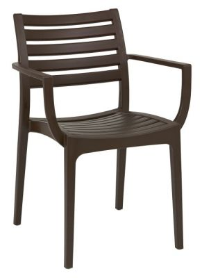 Brown Outdoor Use Armchair With Slats