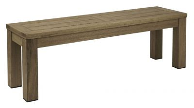 Chunky Wood Darkened Finish Bench Solution Outdoor Use