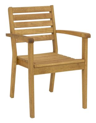 Oiled Finish Stackable Outdoor Armchair