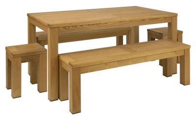Outdoor Dining Set With Two Benches Two Stools And A Table