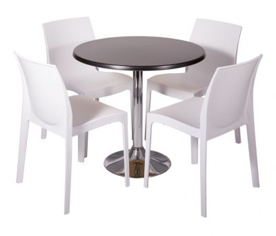White Poly Chair Bistro Set With Chrome Werzalit Cafe Table
