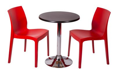 Red Polypropylene Bistro Chairs And Werzalit Table Bistro Set