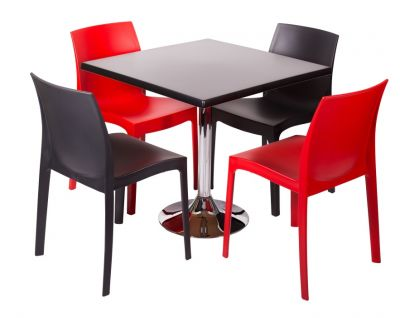 Polypropylene Dining Set With Square Werzalit Table And Poly Chairs
