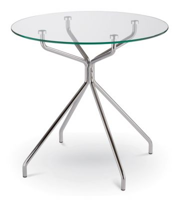 Complete Glass Circular Table With Four Leg Chrome Base