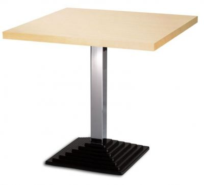 Designer Cafe Table 800mm Square Werzalit Top And Chrome Cast Iron Base