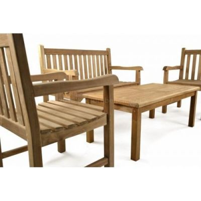 Outdoor Bench And Coffee Table Set