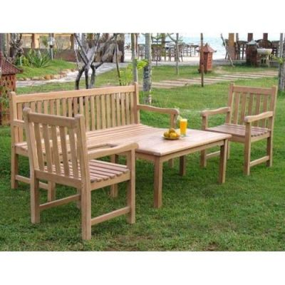 Outdoor Teak Dining Set With Coffee Table