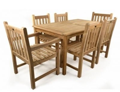 Outdoor Dining Set With Teak Rectangular Table And Two Chairs And Armchairs