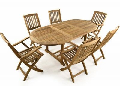 Outdoor Teak Dining Set With Extendable Table And Folding Sidechairs