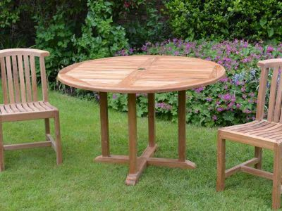 Teak Outdoor Round Fixed Table