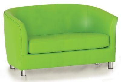 Tritium Faux Leather Sofa In Lime Green