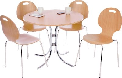 Bistro Table And Chair Seat Keeler Chair Beech 800mm Round Chrome Table