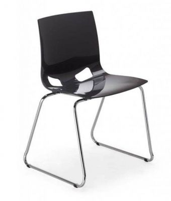 Margo Chair High Gloss Anthracite And Sled Frame