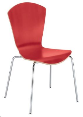 Sinia Laminated Cafe Chairs In Red
