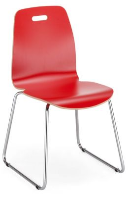 Piazza 2 Cafe Chair With A Sled Frame In Red Laminate