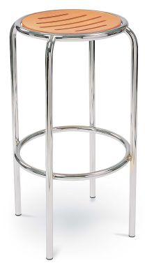 Ringo High Stool Beech Seat Chrome Frame