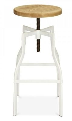 Tall Machinist Industrial Stool With A White Frame