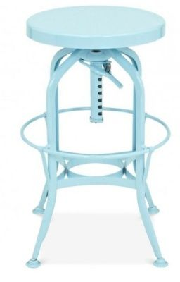 Toledo Industrial Stool In A Light Blue Finish