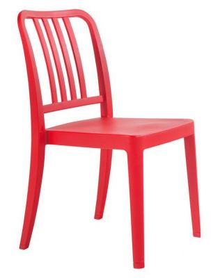 Navy Plastic Chair In Red