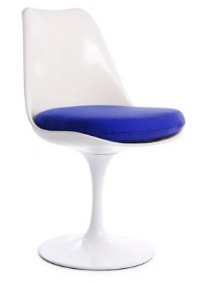 Tulip Chair Blue Fabric Front Angle