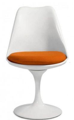 Tulip Chair With An Orange Cushion Face View