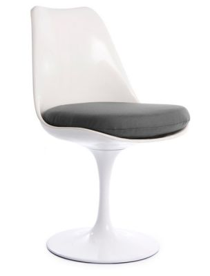 Tulip Chair With A Grey Cushion Front Angle