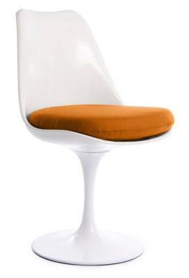 Tulip Chair With An Orange Seat Front Angle