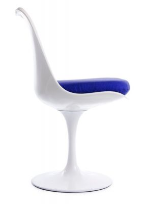 Tulip Chair With A Blue Cushion Side View