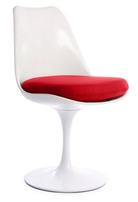 Tulip Chair With A Red Seat Front Angle