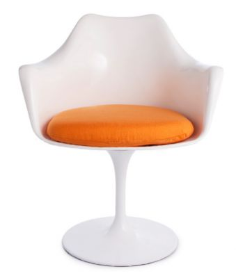 Tulip Armchair Orange Fabric Front View