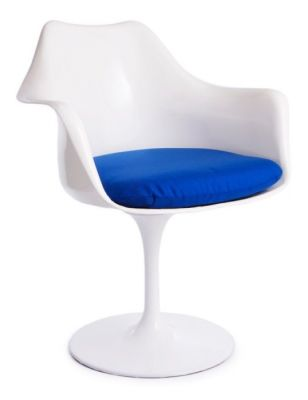Tulip Armchair Blue Fabric Front Angle