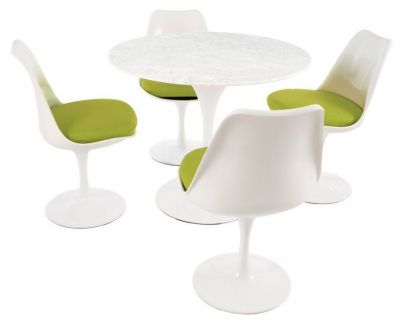 Tulip Four Person Dining Set With Green Fabric And A Marble Top