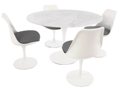 Tulip Four Person Dining Set With Grey Fabric Seats And A Round Marbe Top