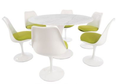 Tulip Six Person Dining Set Green Cushions